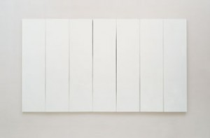 White Painting [seven panel], 1951. Oil on canvas, 72 x 125 x 1 1/2 inches. Collection of the artist.