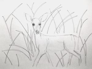 Dido before cupid's arrow (sketch), pen & pencil on paper