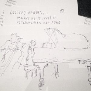 Live sketch - performance by Yo-Yo Ma and Cristina Pato, Zellerbach Hall, 12.10.14