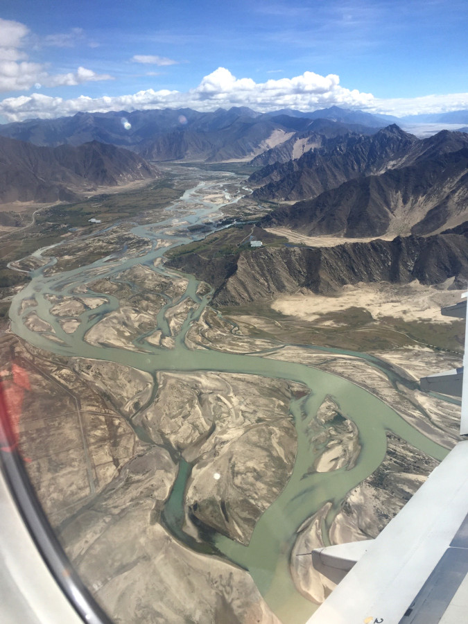Flying into Lhasa - Life giving rivers